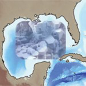 Image of hydrate crystals over image of Gulf of Mexico