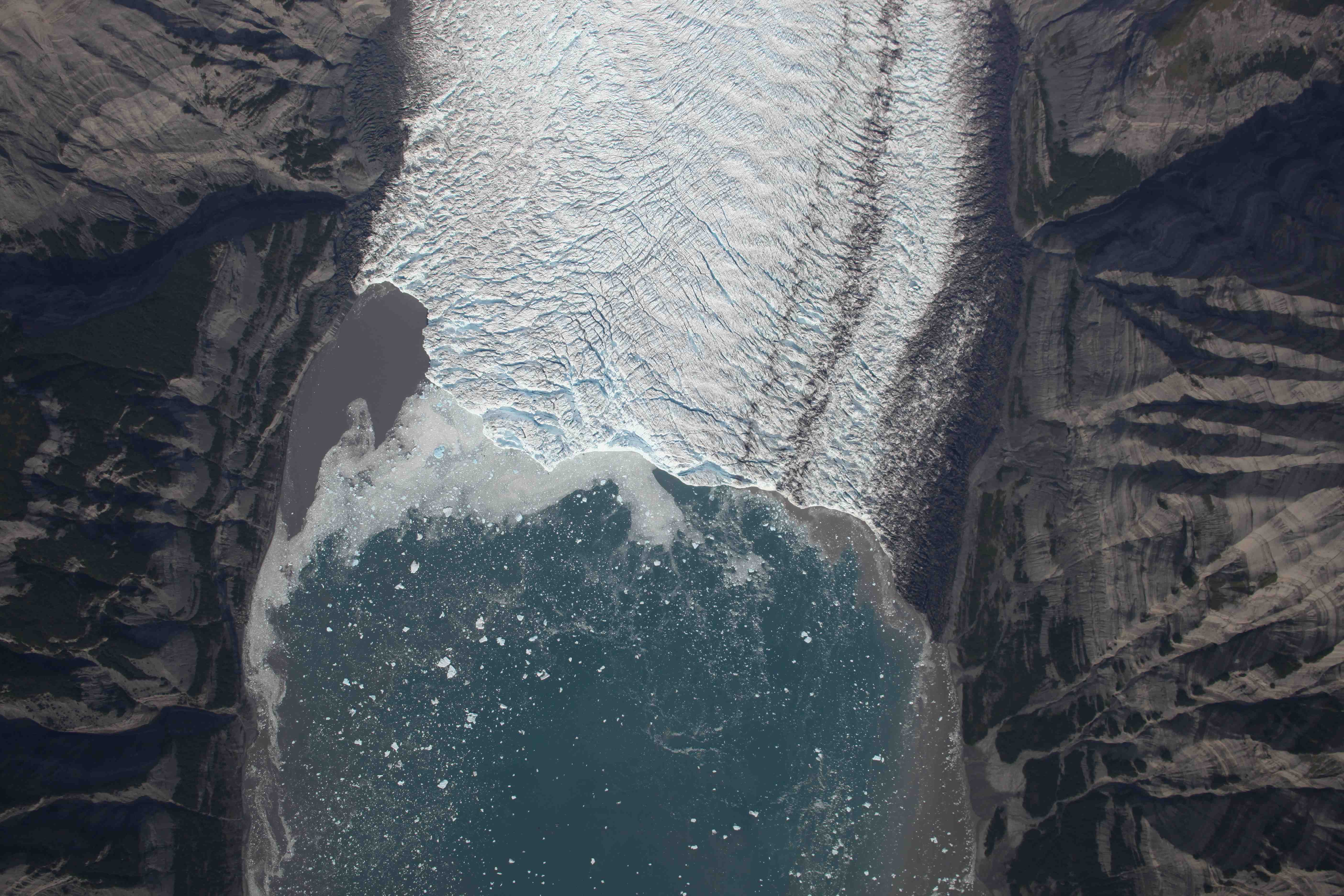 A vertical aerial view of Yahtse Glacier
