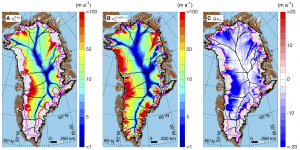 Three figures showcase the movement of Greenland's ice sheet