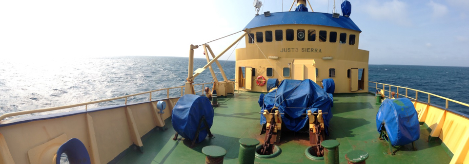 The deck of the R/V Justo Sierra, which was used on the surveying expedition that revealed solution pans in the Gulf of Mexico. (Photo courtesy John Goff)