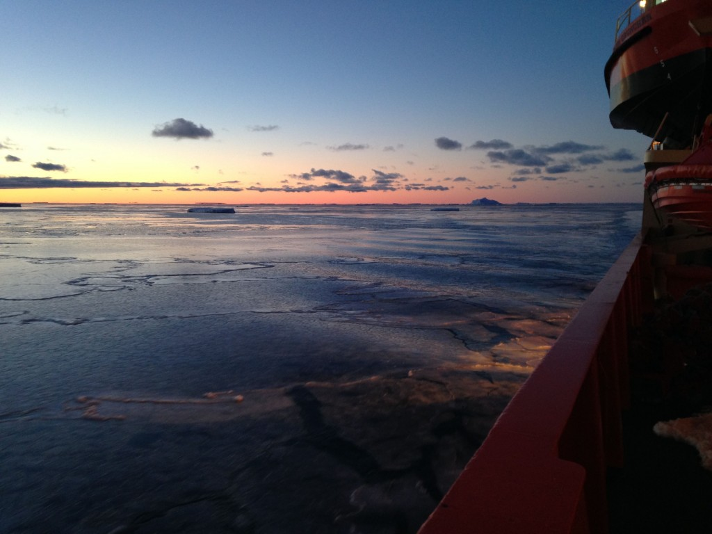 The view from the bow of the ship.