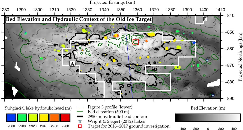 Figure of targeted site with elevation and subglacial lakes