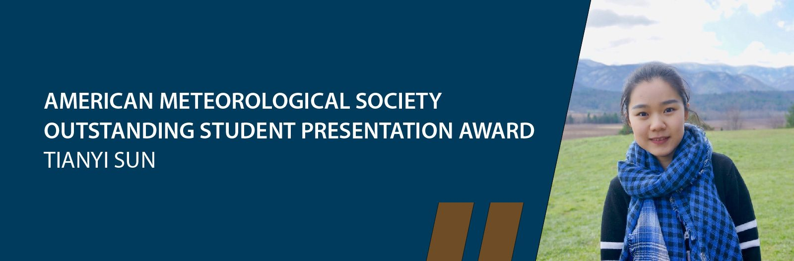 Tianyi Sun awarded AMS Outstanding Student Presentation Award for the second time